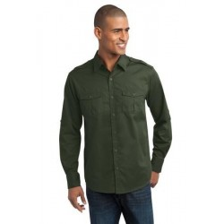Port Authority   Stain-Resistant Roll Sleeve Twill Shirt. S649